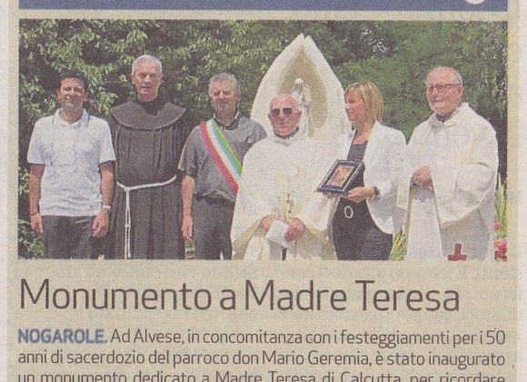 """Giornale di Vicenza – """"Monumento a Madre Teresa"""""""
