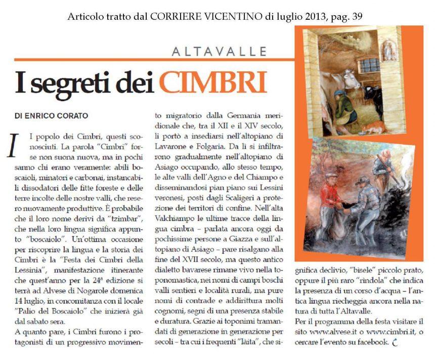 """Corriere Vicentino – """"I segreti dei cimbri"""""""