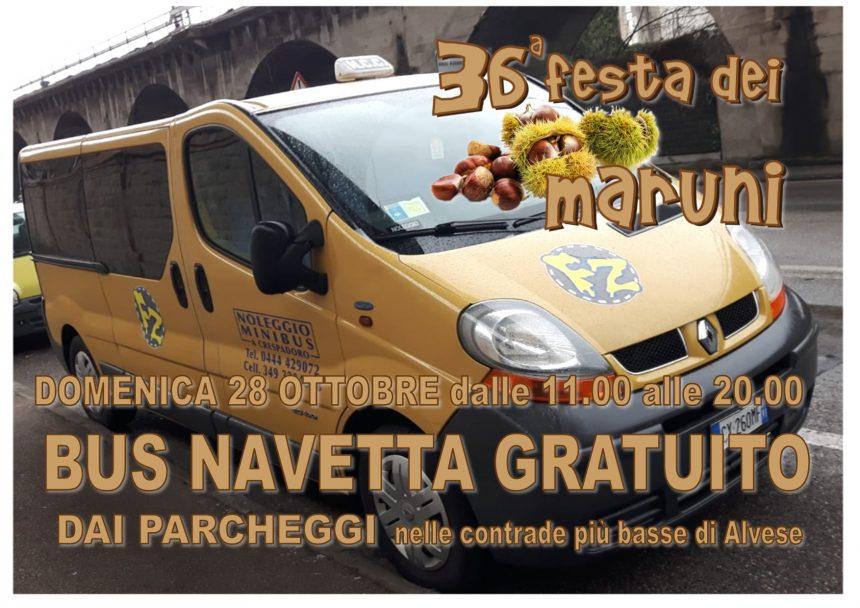 Festa dei Maruni: DOMENICA dalle 11.00 alle 20.00 servizio BUS NAVETTA gratuito dai parcheggi ogni 5 min