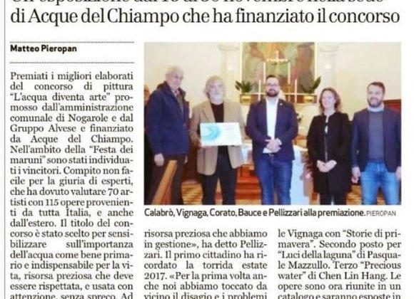 """""""L'acqua diventa arte"""" – il Giornale di Vicenza del 9 novembre parla delle premiazioni del Concorso"""