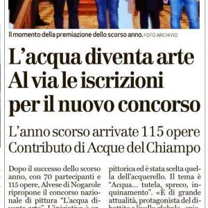"""Il """"Giornale di Vicenza"""" parla del nostro 2° concorso ad acquerello"""